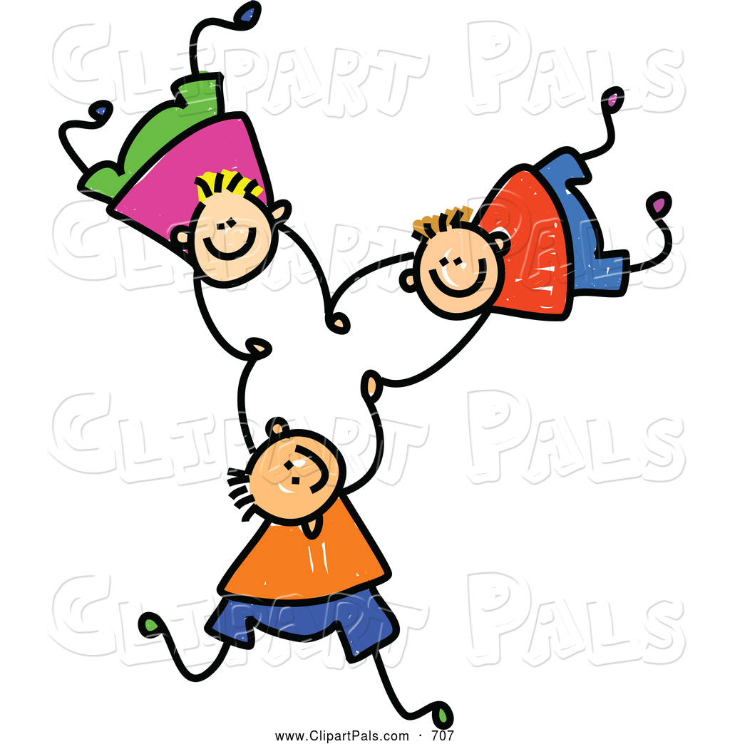 Pal Clipart of a Childs Sketch of Three Cheerful Boys Falling and.