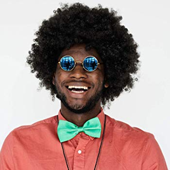Hippie Costume Set Funky Afro Wig Sunglasses Necklace for 50/60/70s Theme  Party.