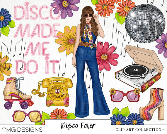 Disco 70s Retro Fashion Girl Clip Art Watercolor Clipart PNG.