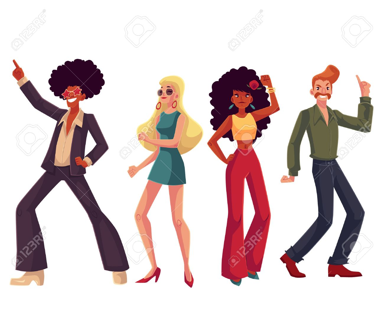 People in 1970s style clothes dancing disco, cartoon style vector...