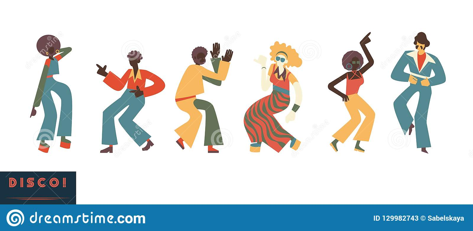 Disco Dancing People Vector Illustration Set With Men And Women With.