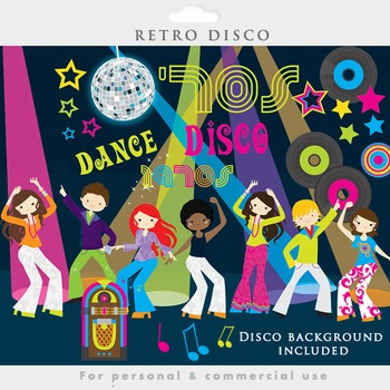 Disco clipart retro 1970s dancing vintage jukebox albums music dance stars.