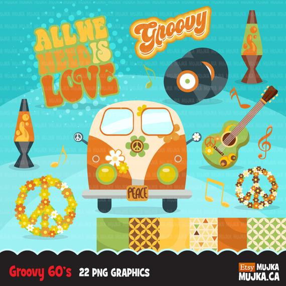 60's retro groovy clipart. 70's graphics, record, Volkswagen wagon.