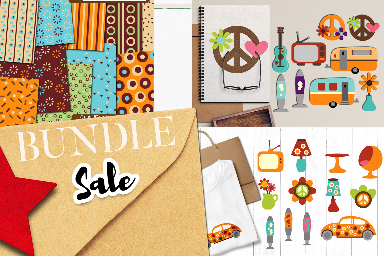 Retro 60s 70s life clip art illustrations bundle.