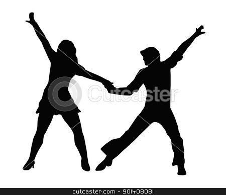 Dancing Couple 70s stock vector.