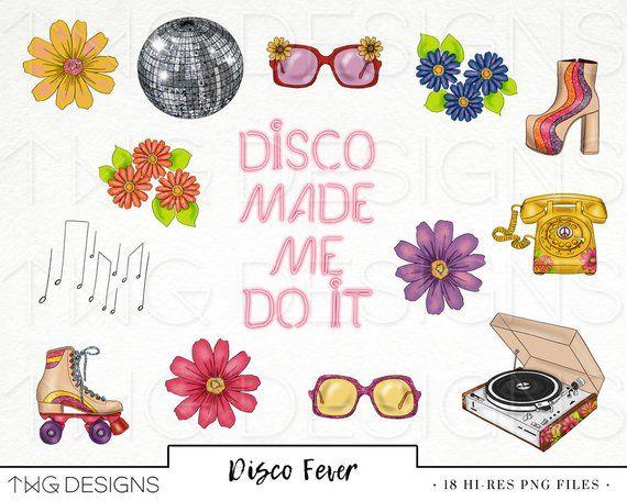 Disco 70s Retro Fashion Girl Clip Art Watercolor Clipart PNG.