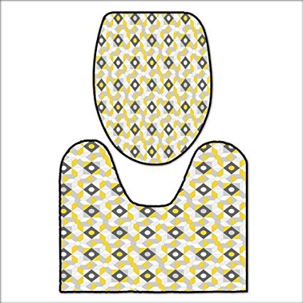 Amazon.com: 2 Piece Shower Mat Set Geometric Retro 60s 70s.