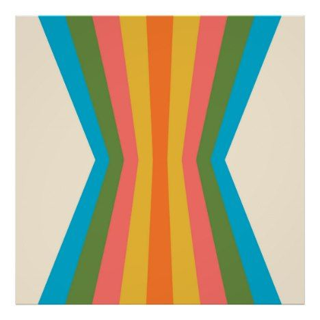 70\'s Retro Rainbow Psychedelic Palette Reflection Poster.