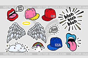 Comic cute stickers, patches in 70 s 80 s, 90 s.