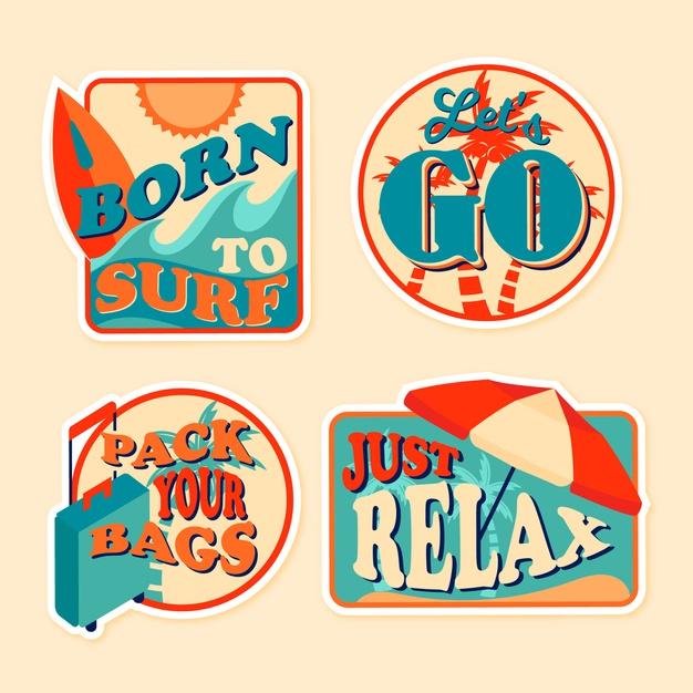 Travel 70s style sticker set Vector.