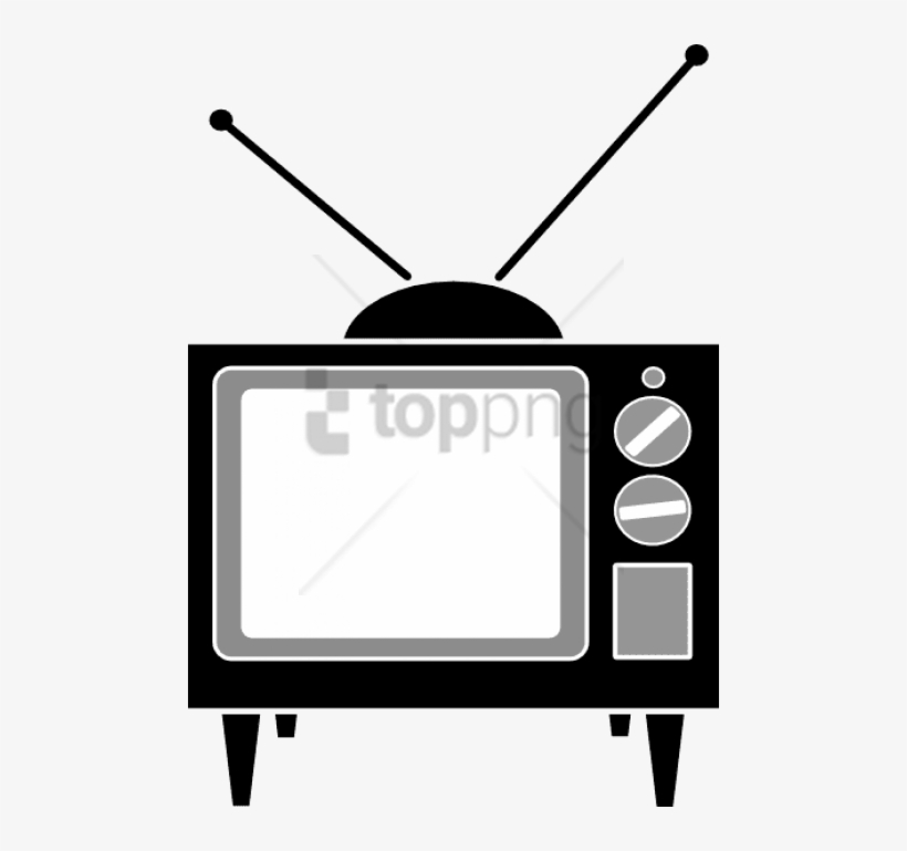 Old 1960s/70s Tv Set With Indoor Antenna Clip Art.