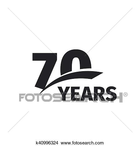 Isolated abstract black 70th anniversary Clipart.
