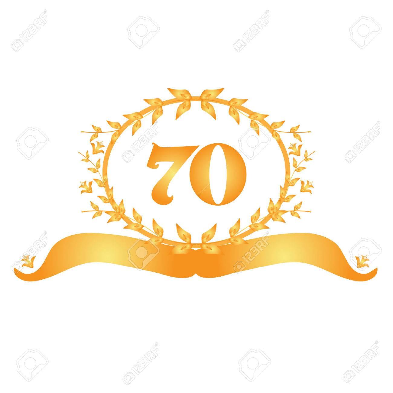 70th anniversary golden floral banner.