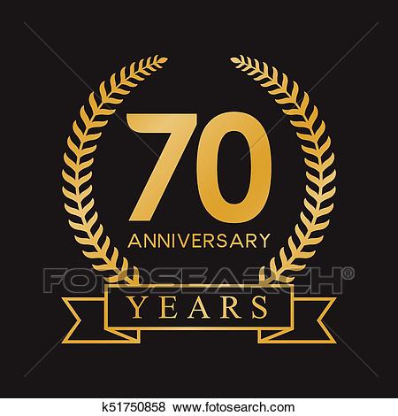 70th anniversary years GOLD Clip Art.