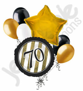 Details about 7 pc 70th Black & Gold Elegant Stripes Balloon Bouquet Party  Decoration Birthday.