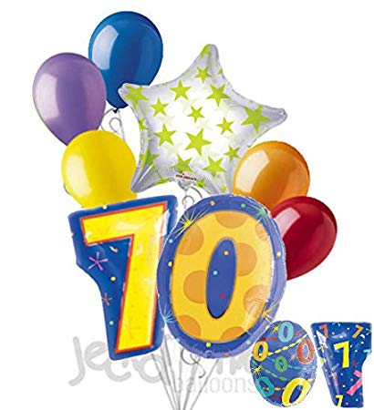 8 pc 70th Birthday Theme Balloon Bouquet Party Decoration.