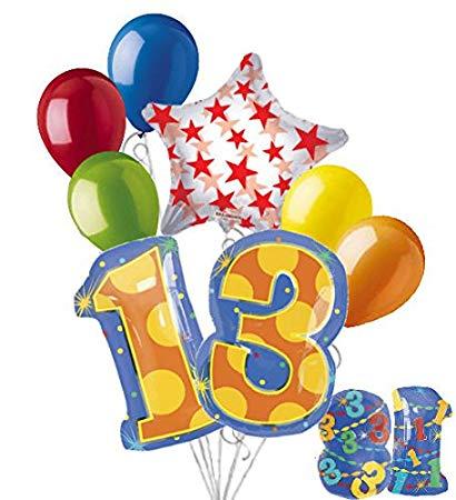 Amazon.com: 8 pc 13th Birthday Theme Balloon Bouquet Party.