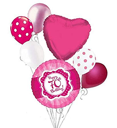 Amazon.com: 7 pc Happy 70th Birthday Hot Pink & Dots Balloon.