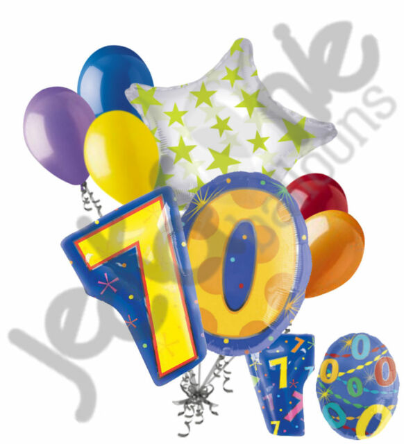 8 pc 70th Birthday Theme Balloon Bouquet Party Decoration Number Primary  Color.