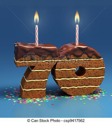 number 70 shaped birthday cake.