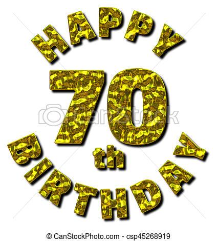 Happy 70th Birthday Gold Message.