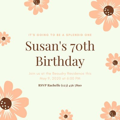 Pink and Grey Floral 70th Birthday Invitation.