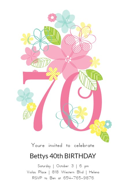 70th Birthday Invitation Templates (Free).
