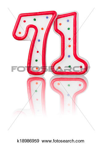 Stock Illustration of Red number 71 with reflection on a white.