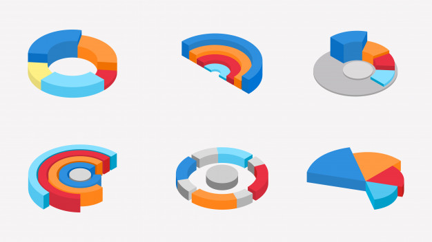 3d isometric of colorful pie chart collection. Vector.