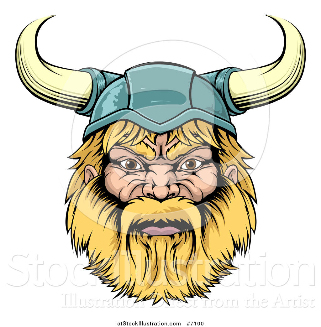 Vector Illustration of a Cartoon Tough Blond Male Viking Warrior.