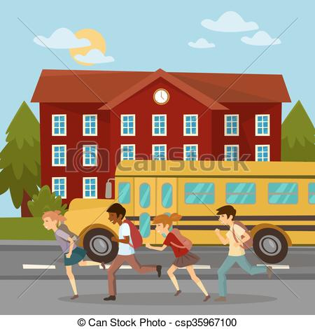 Girl running from bus clipart.