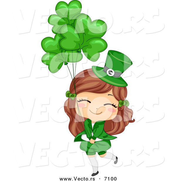 Cartoon Vector of a Happy St. Patrick's Day Girl Holding Clover.