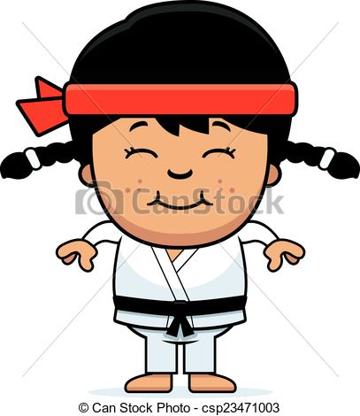 Vector Clipart of Smiling Cartoon Karate Kid.