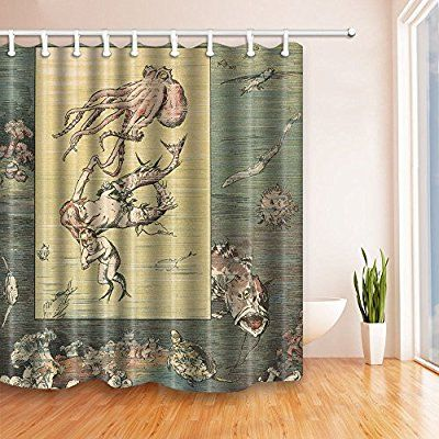 Acient Sea Creature Shower Curtains By KOTOM Giant Monster.