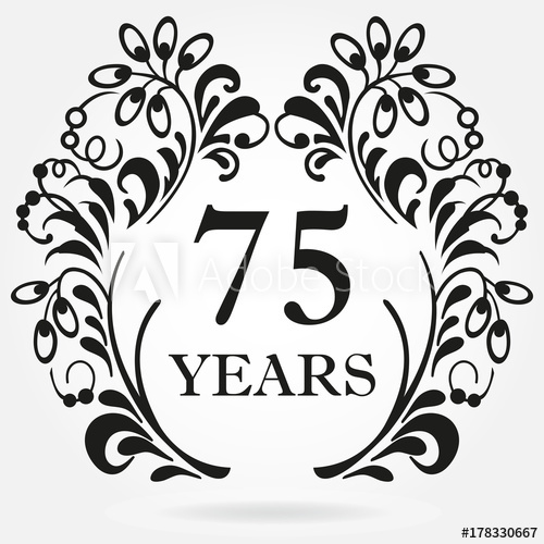 75 years anniversary icon in ornate frame with floral.