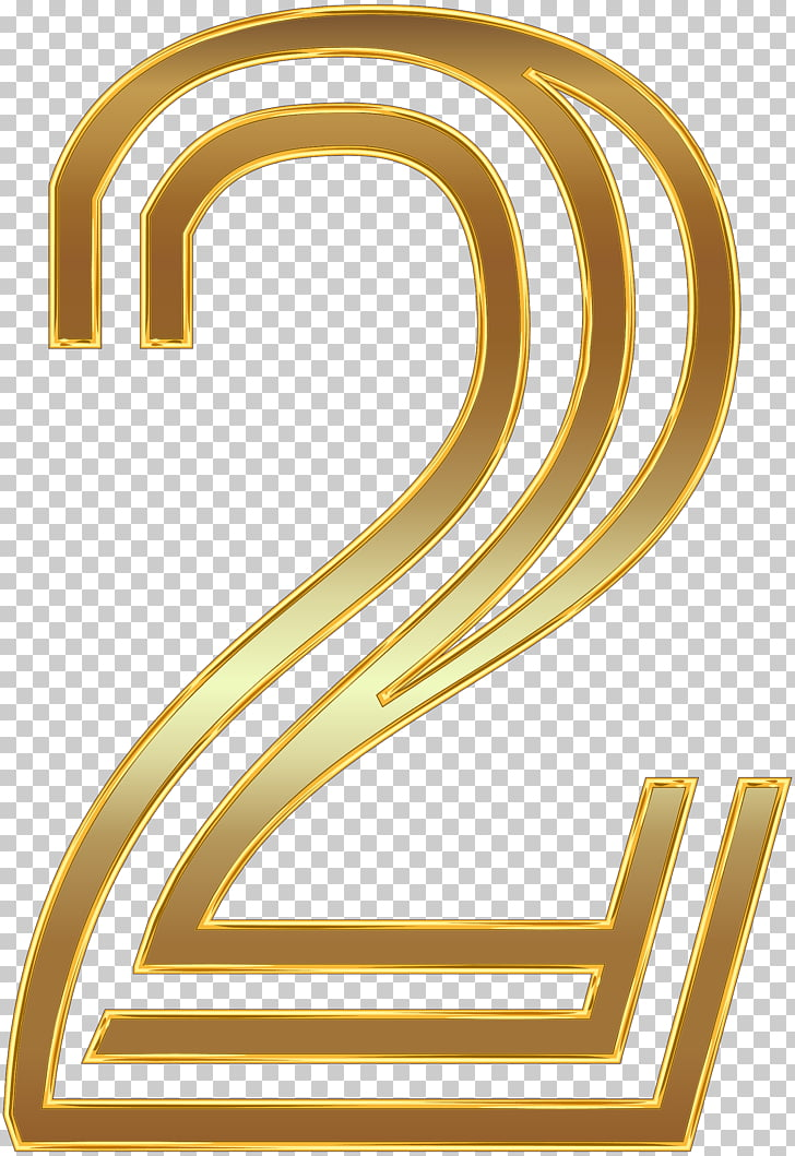 Wedding invitation Paper , Number Two Gold , gold 2 number.