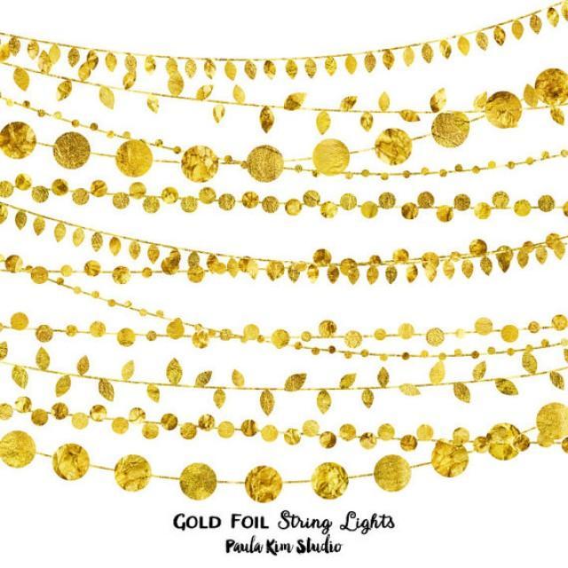 75% OFF SALE Gold Foil String Lights Clip Art, Digital.