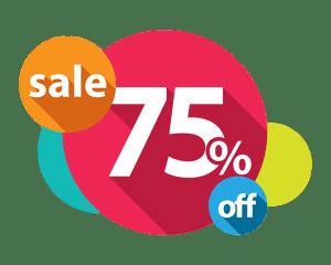 75% Discount transparent PNG.