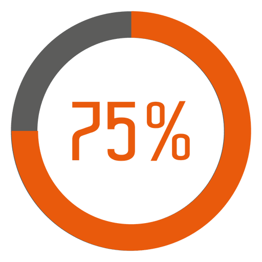 75 percent orange ring infographic.