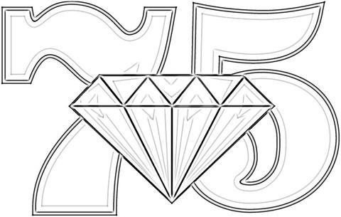 Anniversary 75 Years Diamond Wedding coloring page.
