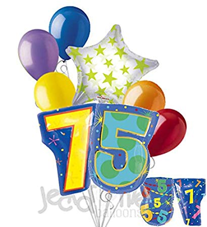 8 pc 75th Birthday Theme Balloon Bouquet Party Decoration Number Primary  Color.