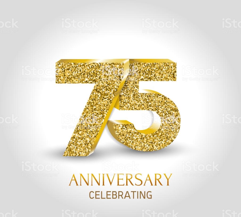 75 Year Happy Anniversary Banner 75th Anniversary Gold 3d.