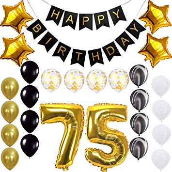Happy 75th Birthday Banner Balloons Set for 75 Years Old Birthday Party  Decoration Supplies Gold Black.