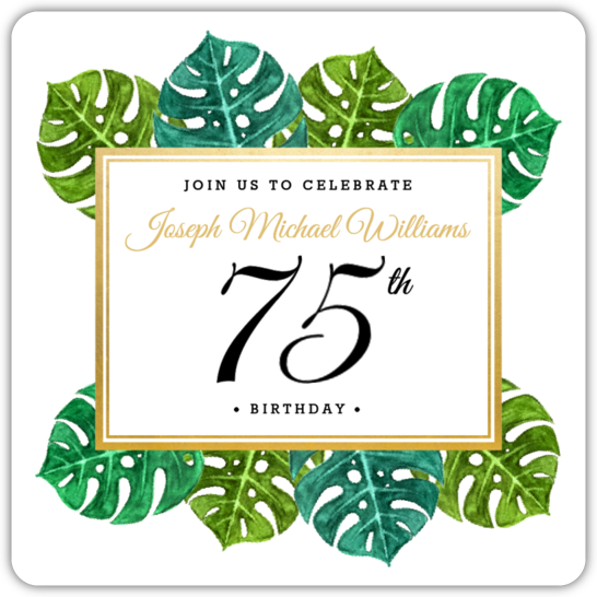 Elegant Tropical Surprise 75th Birthday Invitation.