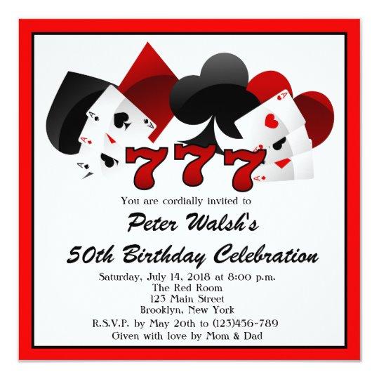 Casino Las Vegas 50th Birthday Invitation.