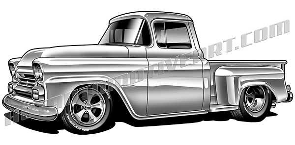 Custom \'58 Chevy pickup artwork.