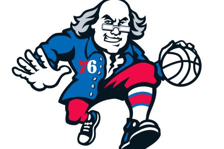 Actual Ben Franklins Rate the 76ers \'Dribbling Ben\' Logo.