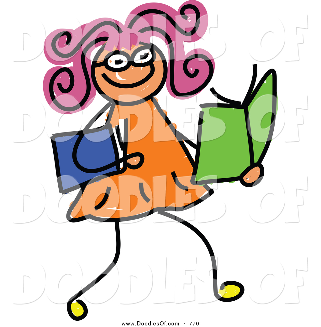 Vector Clipart of a Doodled Girl Reading Books by Prawny.