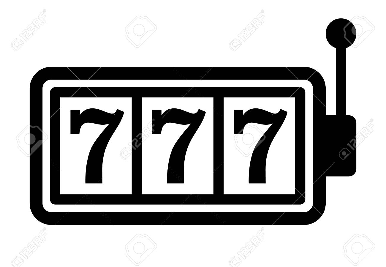 Slot machine or slots with 777 and handle flat vector icon for...