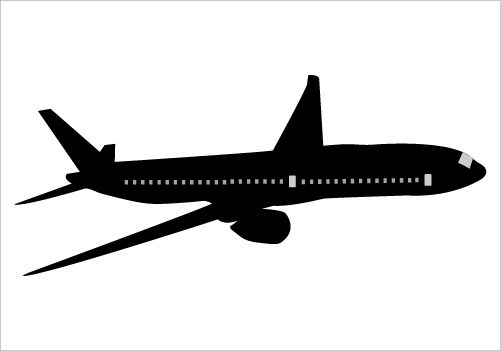 Boeing 777 Silhouette Vector Illustration Flying in the Sky.